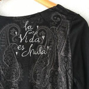 Desigual Tops - Desigual Embroidered Cowl Neck Top Vida Chula